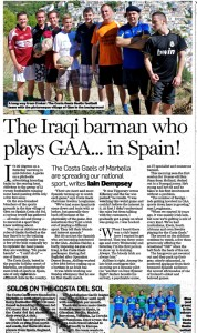 Irish Independant Wed 14th November 2012 Costa Gaels
